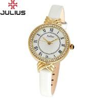 Ladies Wrist Watch Quartz Hours Best Fashion Dress Korea Bracelet Brand Leather Clock Multicolored CZ Rome JA-413