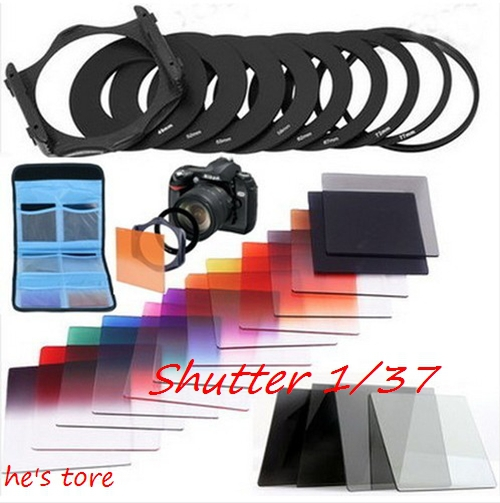23 in1 ND16 Gradual ND2 4 8 Filter Set + 9pcs Ring Adapter 49 52 55 58 62 67 72 72 77 82for Cokin P(China (Mainland))
