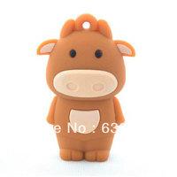 10pcs/lot strong bull Cute cartoon cow funny animal usb flash drive plastic stick custom/promotional 4GB 8GB 16GB  wholesale