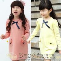 Free Shipping South Korea  Bowknots Big Pockets Dress Princess Holiday Straight Dress For Baby Girls Wholesale 1 Lot 5PCS