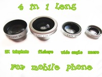 universal magnetic 4 in 1 lens 180 DegreeFisheye + 0.67 X Wide Angle+Macro+2X telephoto Lens For  mobile phone  10pcs/lot