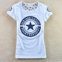 new 2013  t shirt women   spring women's letter pentastar 100% cotton o-neck short-sleeve T-shirt 1009