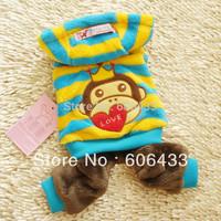 Pet Dog Puppy apparel clothing warm Monkey stripe Coat trousers hat XXS XS S M L color   wholesale available