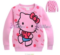 Hot sale girls hello kitty fleece hoodies cartoon kids long sleeve sweatshirt baby Autumn/winter sweat wholesale 6pcs/lot