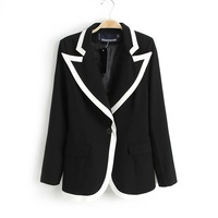 Fashion New 2013 Black+White Color Collar Slim Suit Blazer Jacket,Lapel Long-Sleeved Jackets Women,Superstar Paragraph Jacket