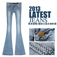 Light blue slim 2013 big boot cut denim wide leg pants trousers women's jeans