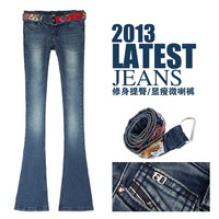 2013 women's spring female jeans embroidery slim bell-bottom jeans boot cut trousers