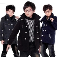 2014 spring and autumn BALABALA wool coat medium-large male child double breasted woolen outerwear