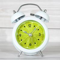 Rustic fruit lemon small alarm clock lounged bell desktop clock mute clock