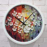 New fashion vintage rustic oil painting wall clock quartz clock and watch wall clock mute clock