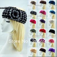 2014 style,Fashion Women Lady knit Headband Hair band women hair accessories flower headwear hair bows