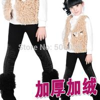 Children's clothing winter child plus velvet thickening legging boot cut jeans girls sparkling diamond all-match thermal pants