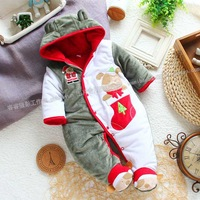 2014 new autumn winter baby  Clothes  child romper cotton jumpsuit baby christmas romper baby thick outwear