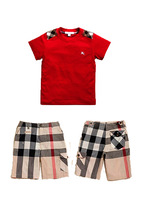 New for 2013 summer children's handsome clothing sets boys red short-sleeved cotton T-shirt classic plaid shorts 2 pieces suit