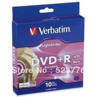 Hot sale! 10discs/lot High Quality Blank Disks Verbatim 16X LightScribe DVD+R 4.7GB 120Min Recordable DVDR Blank DVD R