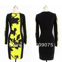 New Womens Celeb O-Neck Long Sleeve Contrast Floral Print Color Block Stretch Bodycon Dress