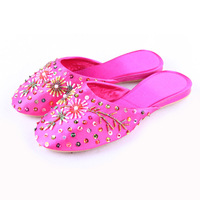 Free shipping Pink paillette beaded home female slippers silks and satins cloth embroidered shoes t-8815