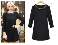 Free Shipping Simple Design Gems Embellished Round Neck Long Sleeves Dress