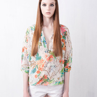 New Arrival 2013 Full long sleeve Floral Print shirt  Blouse Womens Chiffon Flowers Blouses Tops for Women Free Shipping