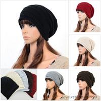 Hot Sale Fashion Women Winter Warm Knit Crochet Hats Girls Baggy Slouchy Oversized Beanie Casual Acrylic Hat Cap Free Shipping