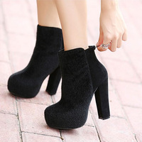 High-heeled boots female fashion leopard print martin boots platform boots platform thick heel round toe boots with a single