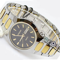 Tungsten steel watches ultra-thin commercial quartz tungsten steel mens watch calendar waterproof