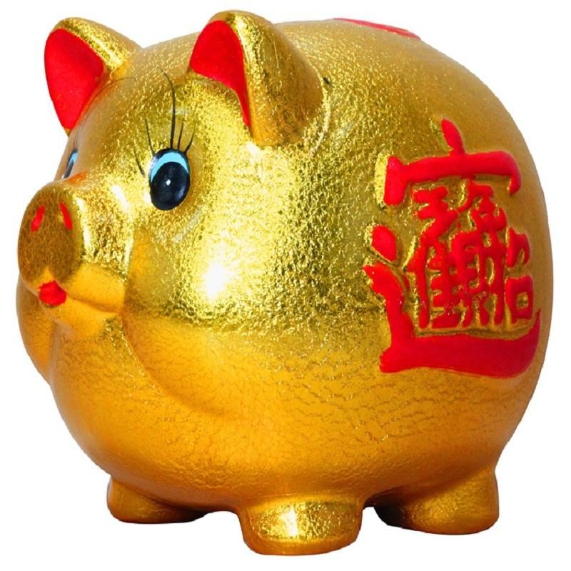 Free shipping Large ceramic golden pig piggy bank piggy bank piggy bank gift decoration lucky pig(China (Mainland))
