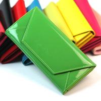 Wallet women's long design mobile phone bag patent leather purse candy color