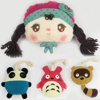 Cartoon fashion women's handmade plush fabric choula key wallet kit coin purse