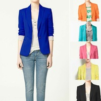 ZA** 2013 Women's One Button Blazer Suits Slim Fitting Design Candy Color Striped Lining Free Shipping Za036