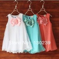 Free shipping 2013 summer flower princess chiffon girl clothing ,Casual Dresses wholesale 5pcs/lot 3t to 7 girl dresses