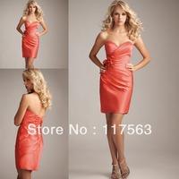 Free shipping sheath sweetheart handmade floral coral lady's bridesmaid dress brides maid dress cheap BD069