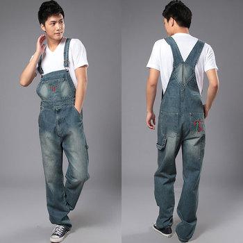 Men's denim bib pants male 2013 loose plus size casual jeans straight one piece ...