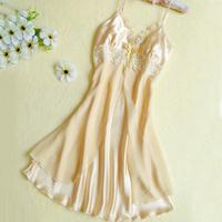 Camisolas De Dormir Camisola Women's Summer Gauze Spaghetti Strap Nightgown Sexy Sleepwear Female Faux Silk Plus Size Available
