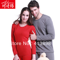freeshipping 2013 atumn and winter  male female underwear Ashima velvet basic  wool thermal underwear long johns lovers set
