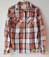 Free shipping Women's aeropostale 2013 orange plaid autumn women's shirt slim 100% cotton long-sleeve