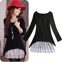 Free Shipping! S/M/L Korean Casual Style Women Clothing 2pcs/set Knit Top+Strap Lace Dresses For Women 2013 Spring/Autumn