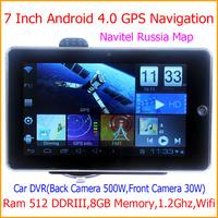 Dual Camera-7Inch tablet GPS navigator Android GPS Navigation A13 Chip 1.2G Ram 512MB DDRIII 8G FM WIFI Car DVR Free Shipping