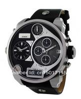 New Black Leather SBA 4 Time Zone Chronograph Men's Watch DZ7125 7125 + Original Box