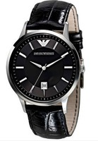 Free Shipping New Men's Black Leather Watch Black Dial Wristwatch AR2411