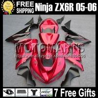 7gifts+100%NEW For KAWASAKI black flames red 05-06 NINJA ZX 6R 636  #932 ZX636 NEWred ZX-6R ZX6R 05 06 2005 2006 Fairings