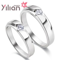 Free shipping YL brand f ring 925 stamp silver & 3 layers of platinum AAA grade crystal man & woman rings wedding ring 1 pair