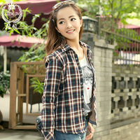Free Shipping Flag 2013 plaid shirt female thermal shirt long-sleeve shirt female small fresh fashion