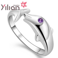 925 stamp silver Wholesale 100% Genuine 925 Sterling Pure Silver Dolphin Women Ring.TOP quality.Christmas gift Free shipping
