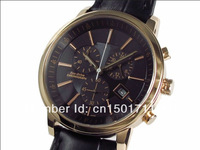 free shoping New quartz Chronograph movement leather strap Mens Watch luxury Wristwatches AT0496-07E AT0496 Gents Wristwatch