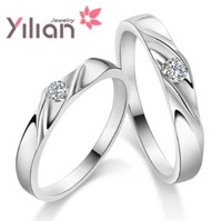 Free shipping YL couples  ring 925 stamp silver & 3 layers of platinum AAA grade crystal man & woman rings wedding ring 1 pair