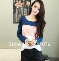 New women's patchwork o-neck shirt tops long sleeve casual T-shirts M L XL free shipping