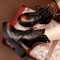 Winter Autumn Ankle Platforms Combat Boots Leather Rivet Designer New Brand Women Motorcycle Boots Shoes Woman ILXZ1081