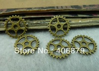 Min.order is $8(mix order)50pcs Vintage Pendant,Antique Bronze Gear Charms,Antique Connector Findings 15mm,Free Shipping c6445