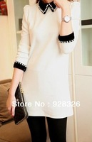 Hitz Korean version of velvet pearl collar temperament Slim Puff Girls long sleeve dress free shipping